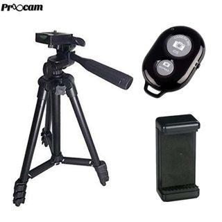 Proocam 3120 camera phone tripod portable Travel hand carry with Bluetooth and Mobile holder for Smartphone