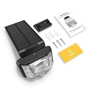 SU823 8 LED太陽能動力傳感器壁燈,廣角照明,IP65防水太陽能燈無線安全燈,用於花園前門通道等。