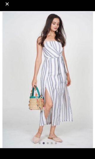 MDS Midi Stripe Side Slit Maxi Dress