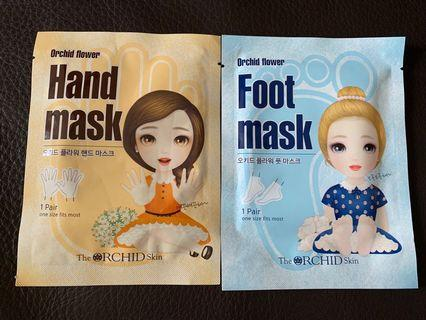 orchid flower hand mask+ foot mask set orchid flower : hand mask x1  foot mask x1