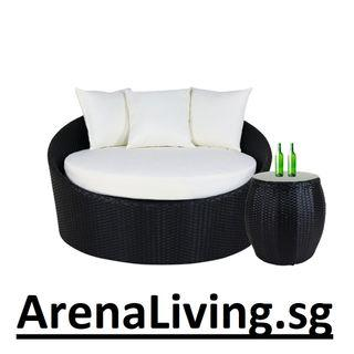 Round Sofa with cushions and table
