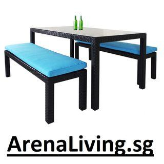 Dining Set with 2 Bench and 1 Table with Glasstop