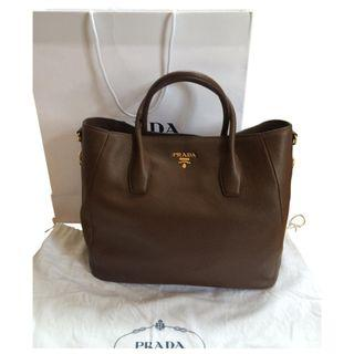Prada BN2537 - Leather Tote Bag in Brown Colour