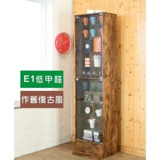 B~低甲醛工業風復古強化玻璃直立式180cm展示櫃/公仔櫃/書櫃/收納櫃/置物櫃