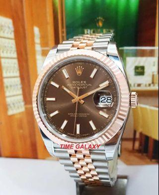 Brand New ROLEX Datejust 41mm Chocolate Dial Steel and Everose gold Bracelet Automatic Men's watch. Model 126331