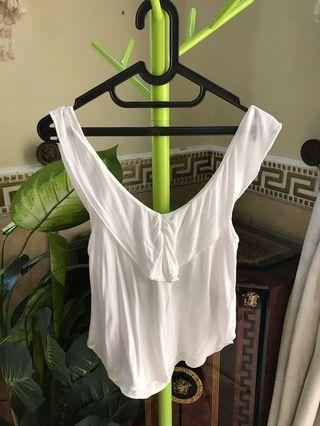 F21 White Backless Top