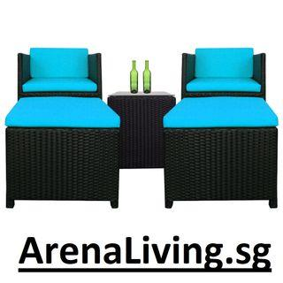 Armchair Set with Ottoman and Cushions