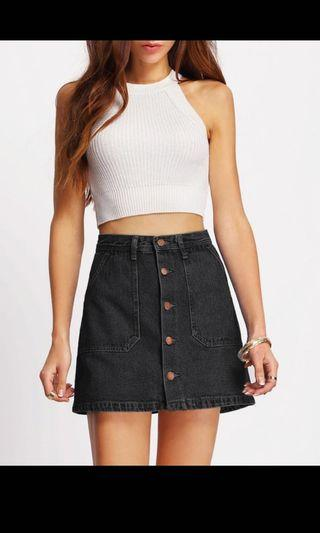 Black Denim Skirt (Brand New)