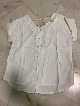 🚚 bnip bnwt white sexy button up folded sleeves blouse