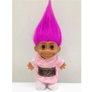 幸運小子(卡哇伊日本娃)醜娃、巨魔娃娃、醜妞、Troll Doll、魔髪精靈、魔法精靈、日本和服、Kawaii、日本妞