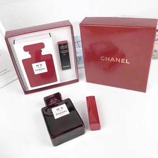🚚 香奈兒N5紅色香水n8口紅兩件套