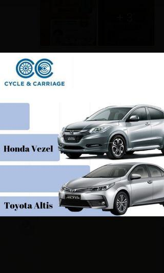 CHEAP Toyota altis & Honda Vezel for rental (no minimum days)
