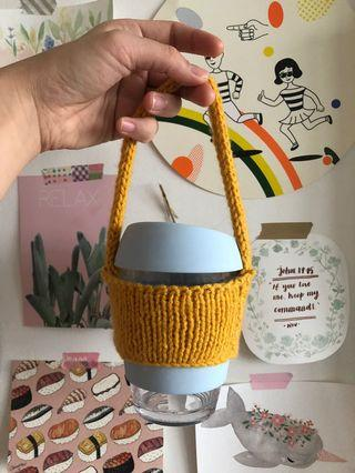 yellow mustard knitted cup holder !!