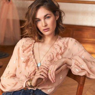 Sezane Gold & Silver Printed Blush Pink Blouse XS