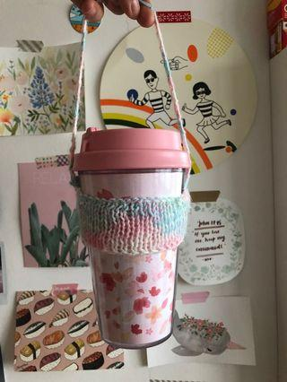 Kintted  paddlepop rainbow pastel cup holder