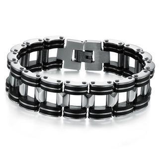 Men Stainless Steel Black Silicon Bracelet