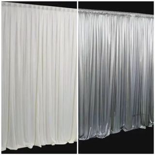 Silver Backdrop curtains 3x3m