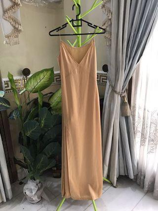 Gold Satin Long Dress