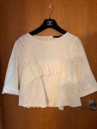 Zara ruffles white top 娃娃裝上衣