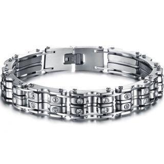 Men bicycle Chain Diamonds Stainless Steel Bracelet