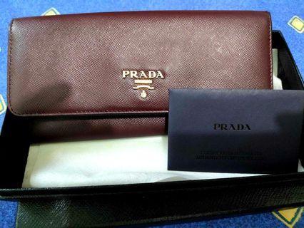 Prada 銀包 wallet 女裝 真皮錢包 棕色