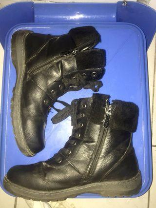 Black Leather Boots 41