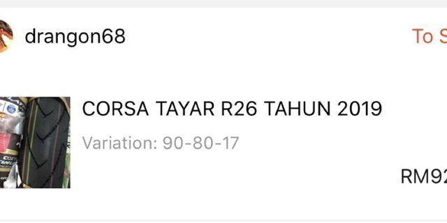 Tayar Corsa R26 New 90/80 17