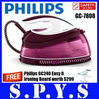 Philips GC7808 System Iron. Bundled with Philips GC240 Professional System 8 Ironing Board. Max 5.3 bar pump pressure. Up to 280 g steam boost. 1.5 L water tank capacity. Carry lock. Safety Mark Approved. 2 Years Warranty.