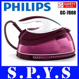 Philips GC7808 System Iron. Max 5.3 bar pump pressure. Up to 280 g steam boost. 1.5 L water tank capacity. Carry lock. Safety Mark Approved. 2 Years Warranty.
