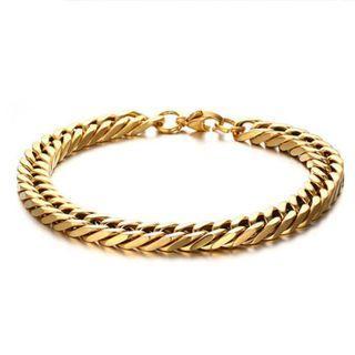 《QBOX 》FASHION 飾品【BBR-128G】 精緻個性簡約金色斜角方環扣鈦鋼手鍊/手環