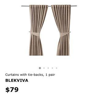 🚚 Ikea Blekviva Curtain in Beige