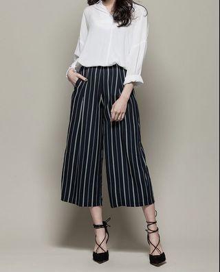 H:CONNECT 純色條紋寬褲