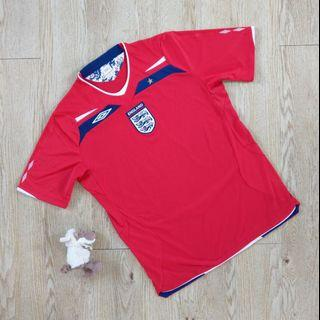 Umbro 英國隊 2008-2010足球衣 客場 運動 短袖 紅色 England original Football shirt L號