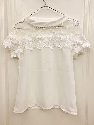 轉賣 AMJ 氣質蕾絲拼接紗網雪紡上衣 白色