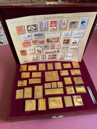 "🚚 ""United We Stand, The Singapore Collection."" - The Journey To Nationhood - 30 pure gold-plated solid sterling silver ingots of historic postage unc stamps ( Coin ) - Beautiful Set!"