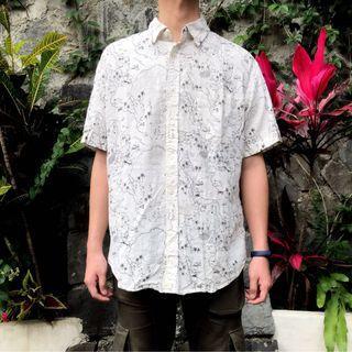 私路古著 花襯衫 夏威夷襯衫 白色 藏寶圖