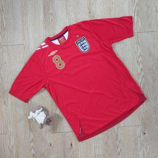 Umbro 英國隊2006-2007足球衣 客場 運動 短袖 8號 Lampard 紅色 England original Football shirt L號