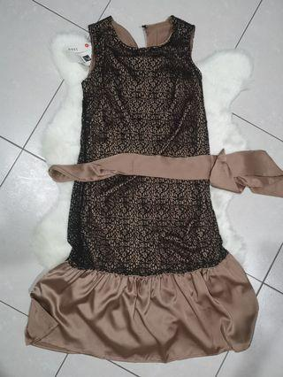 Classy bronze colour satin dress with black mesh & fish tail design from Korea tagged m but more like s #MGAG101