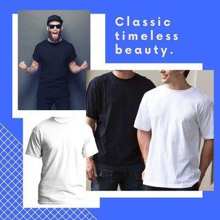 Plain T Shirt in black and white
