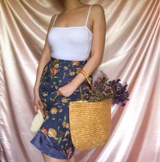 Vintage Floral Pattern Midi Skirt