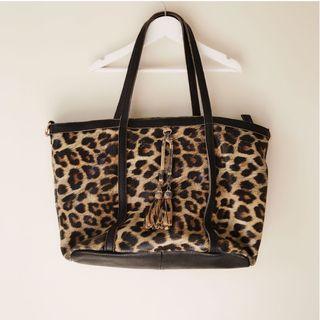 Leather like leopard tassels tote bag