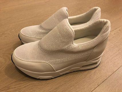 結婚用品 厚底白色波鞋 外影 big day pre wedding 閃閃厚底 內增高7cm 氣墊 白色波鞋