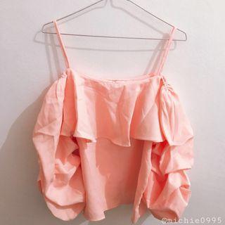 Off-Shoulder Peach Blouse