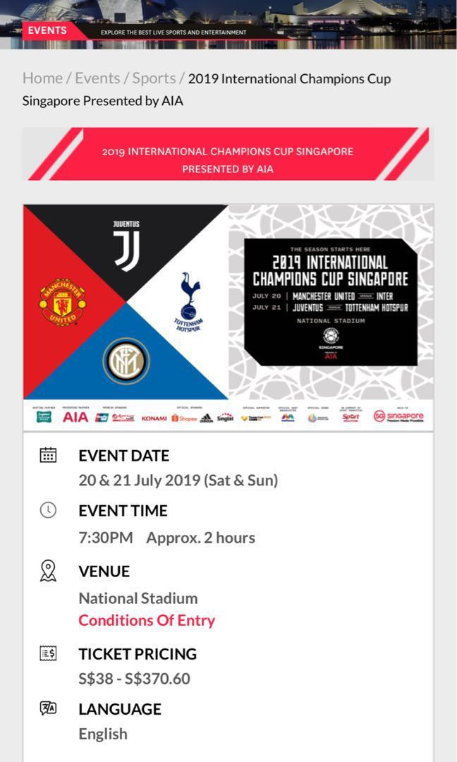 PRICE REDUCED!!! 2019 International Champions Cup Singapore: Man Utd vs  Inter