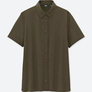 UNIQLO Rayon Short Sleeve Blouse (Olive)