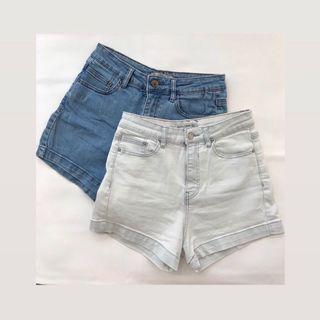 Pull&Bear Stretchy Denim Shorts (Mid Blue / White Blue)