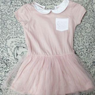 Pink pastel chiffon dress
