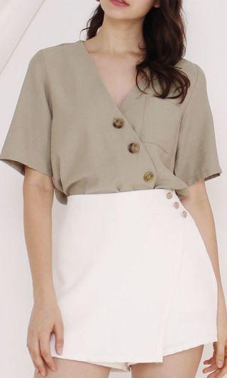 The Willow Label Thea Slant Button Top Moss