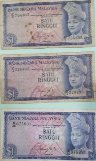 Old Msian banknotes RM1