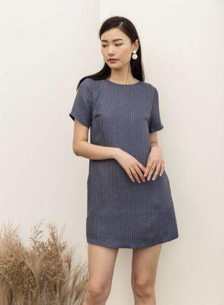 THESTAGEWALK MILENA CHALK STRIPE DRESS